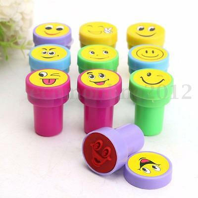 10x Smile Face Stamps Set Stationery For Home School Kids Birthday Party Favor