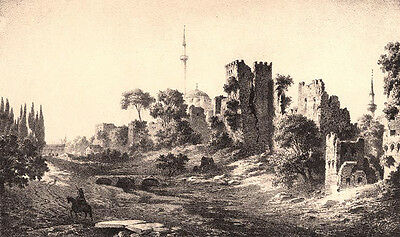 Istanbul Constantinople CITY WALLS RAMPARTS GOLDEN GATE 1800s Architecture Print