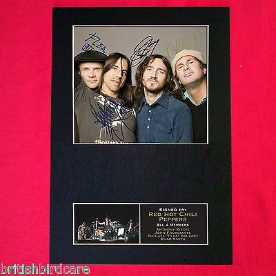 RED HOT CHILI PEPPERS Mounted Signed Photo Reproduction Autograph Print A4 183