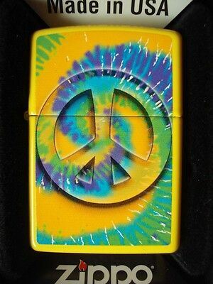 Peace Yellow Tye Dye Zippo Windproof Collector Lighter Sealed Nib Hippy