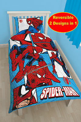 New Spiderman Parker Single Cotton Duvet Quilt Cover Set Boys Kids Bedroom Blue