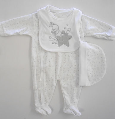 Baby Babies Clothes Boys Girls 3 Piece Set Outfit Babygrow Onesie Hat Bib White