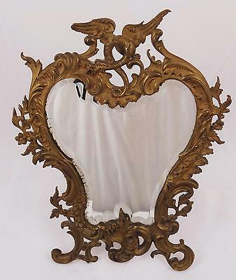 Victorian/edwardian Art Nouveau French  Beveled Vanity Mirror, Winged Dragon