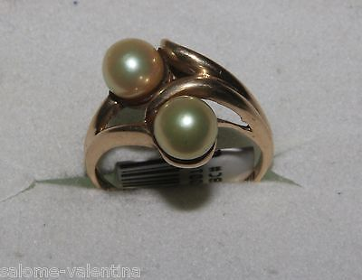 LOVELY 10kj SOLID YELLOW GOLD RING WITH NATURAL PEARLS size 4.5
