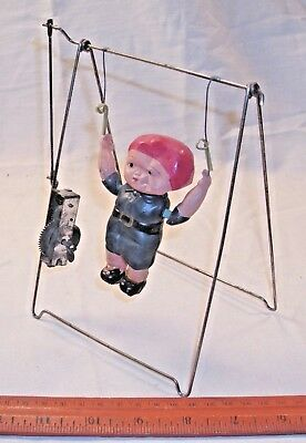 CELLULOID SWINGING BOYS ON BAR WIND UP TOY 1930s