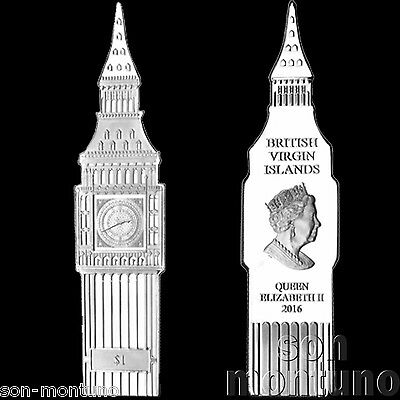 2016 BIG BEN CLOCK SHAPED 1 DOLLAR COIN Nickel Silver British Virgin Islands UNC
