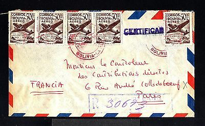 9627-BOLIVIA-AIRMAIL REGISTERED COVER LA PAZ to PARIS (france) 1955.Aerien.AEREO