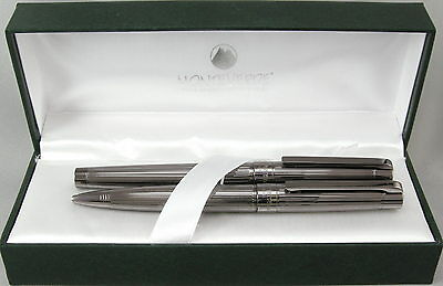 Monteverde Ascona Gunmetal Fluted Ballpoint & Rollerball Pen Set - New in Box