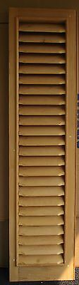 "SUPER LOUVERED PINE WINDOW SHUTTER w/ LARGE SLATS 59"" High"