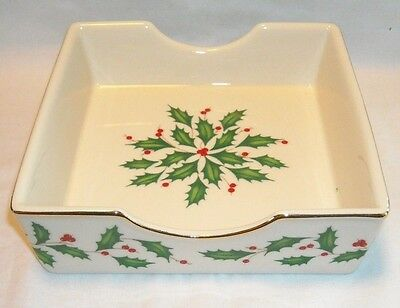 Vintage ? Lenox Holiday Holly Leaf & Berry Christmas Napkin Holder