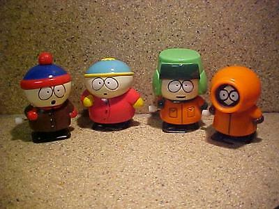 """1998 South Park Set Walking Wind Up Toys Cartman Kyle Kenny Stan Working 3"""" High"""