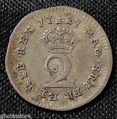 1727 George I Maundy Twopence (A)  Good Detail Higher Grade Coin Spink 3656