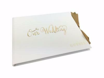 White Wedding Guest Book Gift With Gold Ribbon WG703