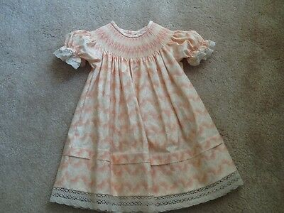 PEACH PRINT SHORT  SLEEVE WITH LACE BISHOP DRESS SIZES 2T, 3T, and 4T