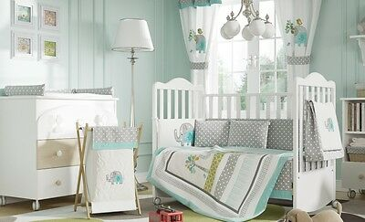 Brand New Green Elephant Unisex  4 Piece  Bedding Cot Set