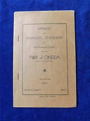 Oneida Townshipcanada Minutes And Financial Statement 1943 County Of Haldimand