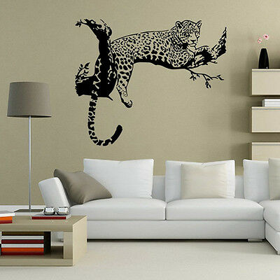 Large Wild Leopard Animal Black Wall Sticker Wall Decal Art Mural Home Decor