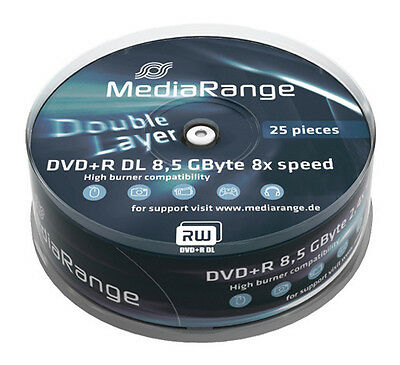 50 MediaRange DVD Rohlinge Double Layer 8.5 GB DVD+R 8x fach Dual Layer