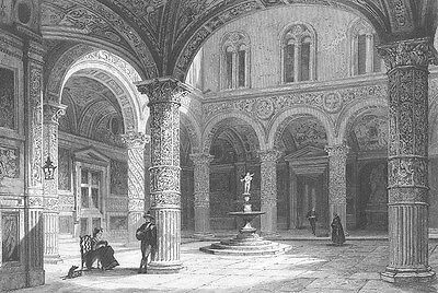 Italy, FLORENCE PALAZZO VECCHIO PALACE COURTYARD ~ Old 1841 Art Print Engraving