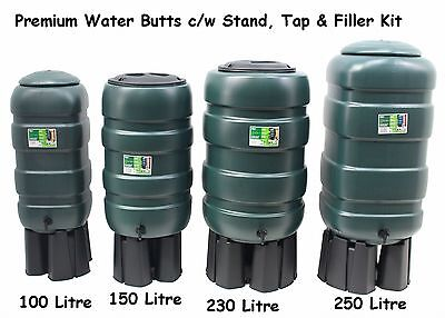 NEW Premium Water Butt Kit Rainwater Barrel Choice 100-250 Litre Round & Square