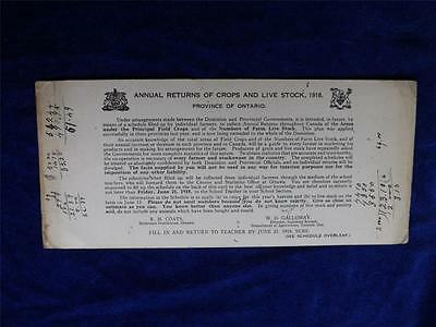 Annual Returns Of Crops And Live Stock 1918 Farm Report To Province Of Ontario