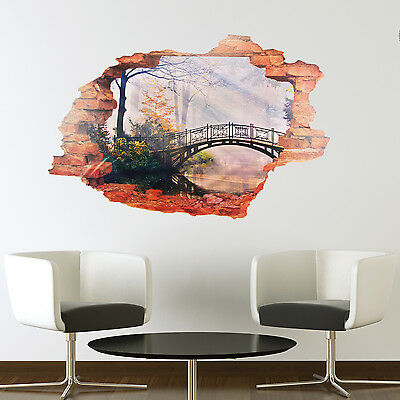 Decoration Bridge View Décor Wall Sticker Forest Home Art 3D Mural 90cm x 60cm