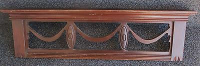 """Vintage Swag Style Mahogany Pediment Crest 24"""" Wide"""