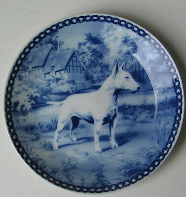 Vintage White Bull Terrier Blue Danish Collectors Plate