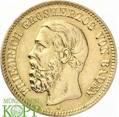 Z704) J.185 BADEN 5 Mark 1877 G Friedrich I 1852-1907 Gold