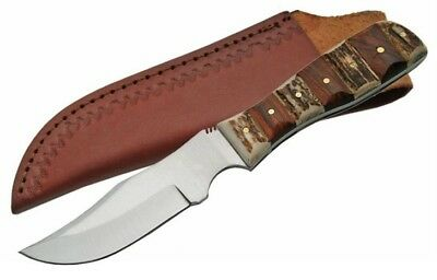Steel Stag Finger Grip Skinner Stag / Wood Fixed Blade Knife with sheath SS-7020