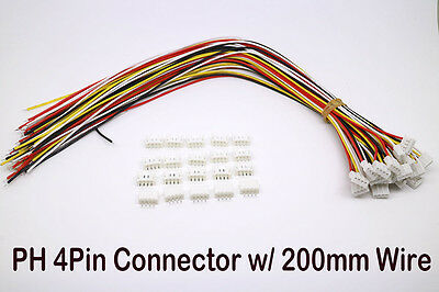 20SETS Micro JST 2.0 PH 4-Pin Male Female Connector plug with Wires Cables 200MM