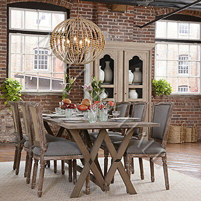Vintage Galvanized Top Pine Base Dining Table