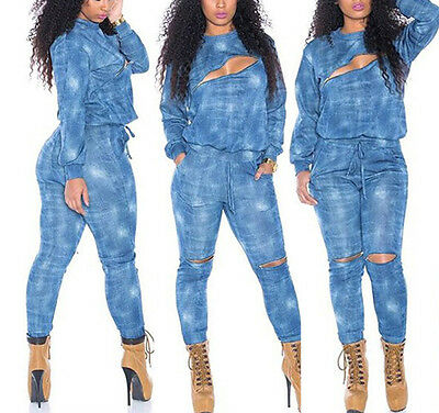New Women Sexy Clubwear Playsuit Bodycon Party Jumpsuit Romper Trousers 2Pcs