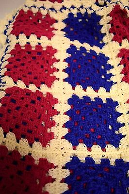 Very Nice Unused Multicolor Afghan Made From Handmade Granny Squares