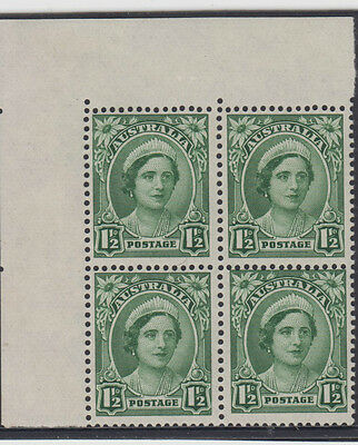 Stamps Australia 1&1/2d green queen mum no watermark block 4 substituted cliche
