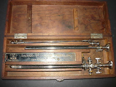 Vintage American Cystoscope Four Piece Set  In Wood  Case A.c.m.i