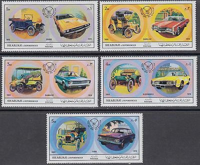 Sharjah 1971 ** Mi.781/85 A Autos Cars Automobile Cadillac Ford Dodge Oldsmobile