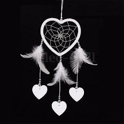 Heart Shape White Dream Catcher Handmade Feathers Wall Hanging Decor Craft Gift