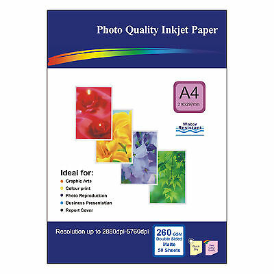 50 Sheets of Double-sided A4 260gsm High Quality Matte Photo Paper for Inkjet