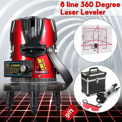 8 Line Automatic Self Leveling Rotary Laser Level Beam Meter Measure Kit Tripod