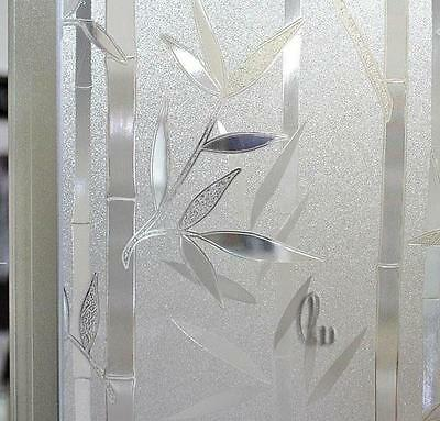 60cm x3m Static 3D Bamboo Reusable Removable Frosted Window Glass Film L024