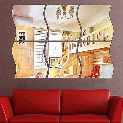 6pcs 3D DIY Removable Home Room Wall Mirror Sticker Art Vinyl Mural Decor Decal