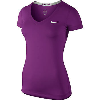 Nike Pro Core Fitted V-Neck Ladies Running Top - Purple