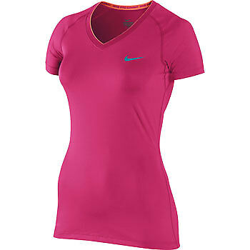 Nike Pro Fitted V-Neck II Ladies Running Top - Pink
