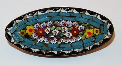 Antique Victorian Multi Color Micro Mosaic Flowers Signed Italy Oval Brooch Pin