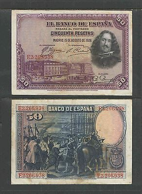 SPAIN 1928 50 PESETAS CATALOG # P75b VF+ or BETTER Catalog = $15.00