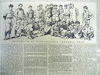 1893 newspaper with large engraving of UNIVERSITY OF PENNSYLVANIA FOOTBALL TEAM