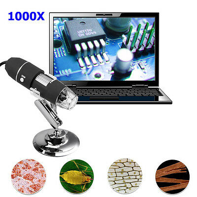8 LED 1000X USB Digital Microscope Lens Endoscope Magnifier Zoom Camera w/Stand