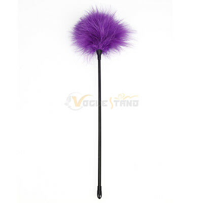 Role Play Leather Whip Feather Tickler Bondage Tease Adult Sex Toy Purple