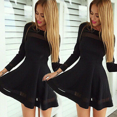 Women Bodycon Club Long Sleeve Evening Party Cocktail Mini Short Dress Black